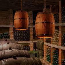 details about industrial bar cafe lights wood wine barrel hanging fixture ceiling pendant lamp