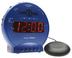 sonic alert sbb500ss sonic loud dual alarm clock with bed shaker blue