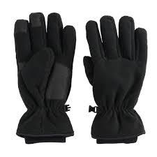Mens Tek Gear Microfleece Tech Touch Cuffed Gloves Black