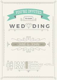 Vintage Wedding Invitation Card Template With Flourish Ornaments
