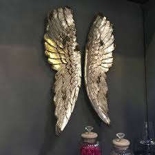 angel wings large antiqued silver wall art