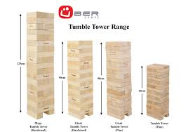 How To Play Tumbling Tower Wooden Block Game Uber Games Giant Tumble Tower 1