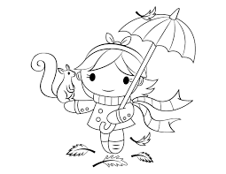 Coloring pages >> things >> umbrella >> page 1. Printable Girl With Umbrella And Squirrel Coloring Page