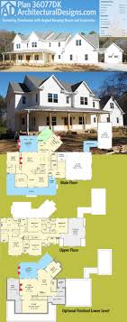 Architectural Designs House Plan 36077DK is a sprawling farmhouse plan with  an angled keeping room and