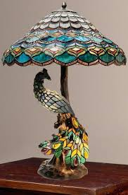tiffany style peacock lamp style pea hallow double lit stained glass table lamp new tiffany style peacock lantern table lamp