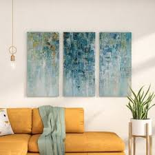 i love the rain acrylic painting print multi piece image on gallery wrapped canvas on grey and yellow wall art canada with oversized wall art you ll love wayfair