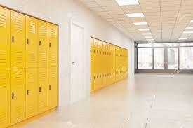 school gym doors. Wall With Yellow Lockers And White Door. Fitness Gym. Concept Of School Interior Style Gym Doors