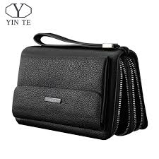 <b>YINTE Men</b> Wallet Double Zipper Genuine Cow <b>Leather</b> Clutch ...