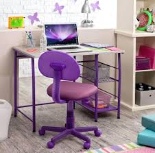 Desk Chairs Cute White Purple Kids puter Desk Roller Chair