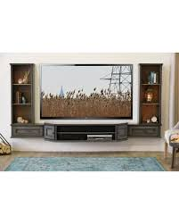 Wall Mounted Tv Stand Entertainment Console Vintage 3 Piece & Bookcases  Driftwood Gray