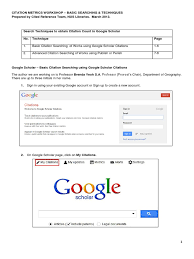 Basic Searching And Techniques For Google Scholar Citation Google