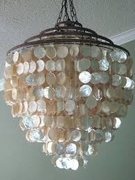 home improvement capiz s chandelier stunning shimmer seaside coastal ivory shell us new in home