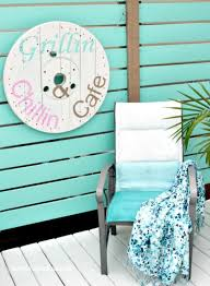 diy backyard artwork made from a industrial wood spool cable spool ideas wood