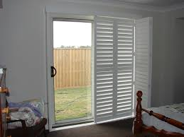 white shutters for sliding glass doors