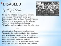 disabled by wilfred owen igcse anthology 4