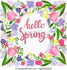 Spring Photo Cards Hello Spring Greeting Card Design With Flowers And Text In Frame