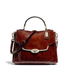 Lyst - Coach Madison Small Sadie Flap Satchel in Patent Leather in Brown