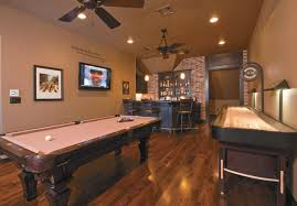 games room lighting. Interior:Striking Ceiling Fan With Lighting Over Pool Table And Country Home Bar As Basement Games Room I
