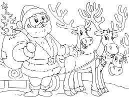 Small Picture Printable Santa And Reindeer Coloring Page Christmas Coloring