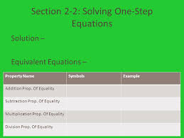 section 2 2 solving one step equations solution equivalent equations property
