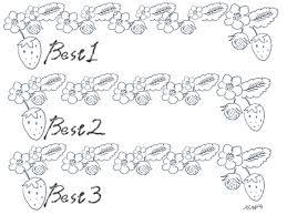 北欧風のモノトーンのイチゴの飾り罫とbest1best3の手書き文字の