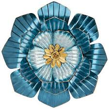 new teal and gold flower metal wall art