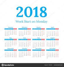 2018 Calendar Start On Monday Stock Vector 123sasha 175795740