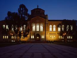 apply ucla facade of powell library at night