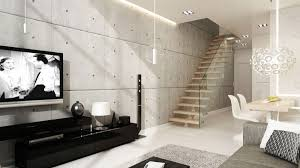 Modern Loft Interiors - Living Room with Cement Wall Finish