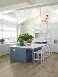 painted blue kitchen cabinets house: latest coastal living showhousethis coastal kitchen features light grey cabinets painted pratt amp lambert marble