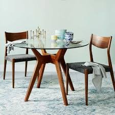 jensen round glass dining table west elm with regard to decorations 0