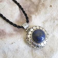 details about round antique style genuine lapis lazuli stone pendant twisted cord necklace