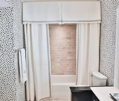 Shower with Pleated Valance and Double Curtains