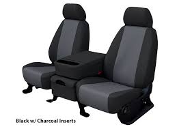 installed leatherette seat covers black with charcoal inserts