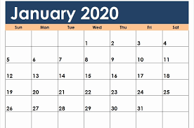 Word 2020 Calendars Free January Calendar 2020 Printable Template Blank In Pdf