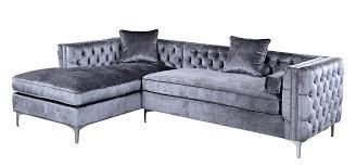 grey velvet sectional. Grey Velvet Sectional Sofa Ideas Amazon Iconic Home Tufted Silver Trim Left Dark Gray Design And