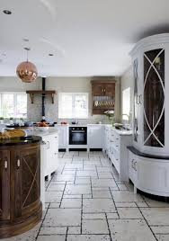 White Marble Kitchen Floor Beautiful Kitchen Design With Unique Floor Tiles Wooden Round