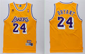 Bryant Yellow Jersey Sale Star Los All Lakers Angeles Nba Basketball Cheap Throwback Adidas 24 Kobe For