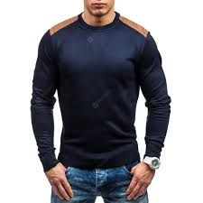 Round Neck Suede Patch <b>Men</b> Casual Pullover Sale, Price ...