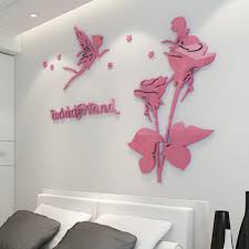 flower fairy 3d acrylic three dimensional wall stickers romantic bedroom bedside tv background wall decoration