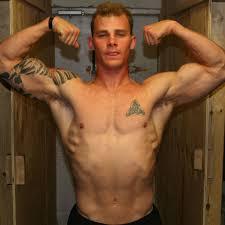 Hairy muscle biceps flex pecs