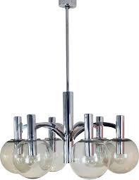 vintage chrome and glass chandelier by kaiser leuchten 1960s