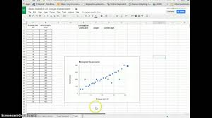 linear regression in google sheets using google spreadsheets for linear regression youtube