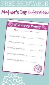 printable mother s day interview for kids no time for flash printable for preschool mother s day printable