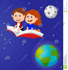cartoon boy and flying on a book