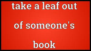 a leaf out of someone s book meaning