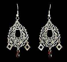 boho chandelier earrings with red teardrop bead accent in antique silver tone