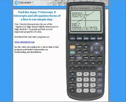 ti 83 plus slope y intercept x intercept standard form point intercept equations of a line you