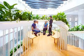 office gardens. planting along the entire balustrade forms an airborne garden which can be maintained by whole office community cultivating kind of engagement and gardens