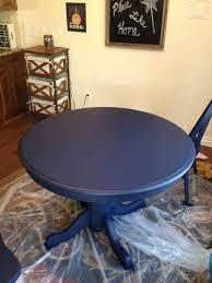 boring oak table redo with navy chalk paint